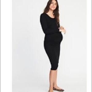 Maternity Black Body-con Midi Dress